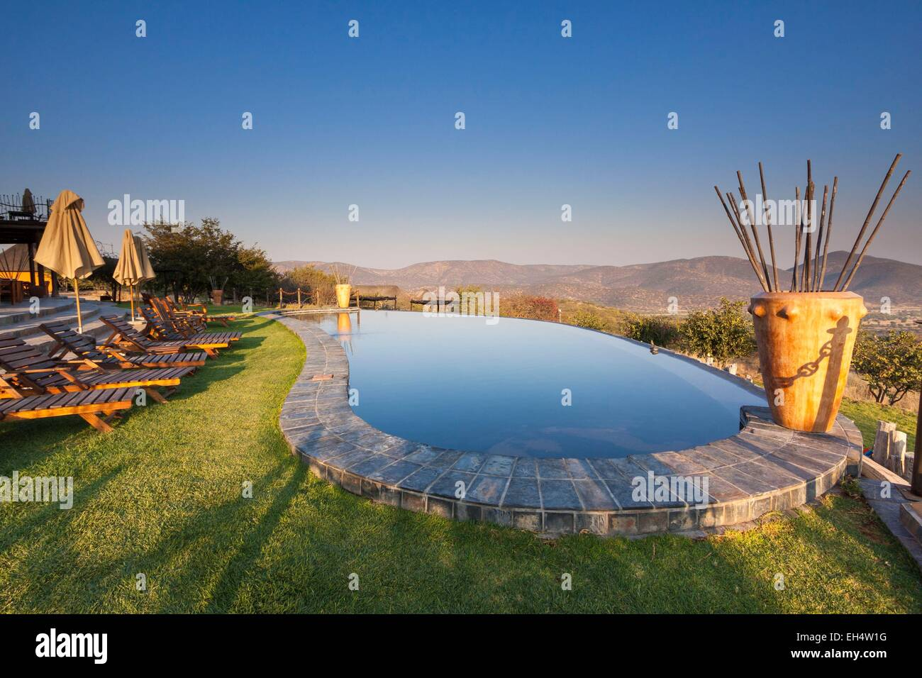 Namibia, Kunene region, Kaokoland, Opuwo, pool Opuwo country lodge - Stock Image