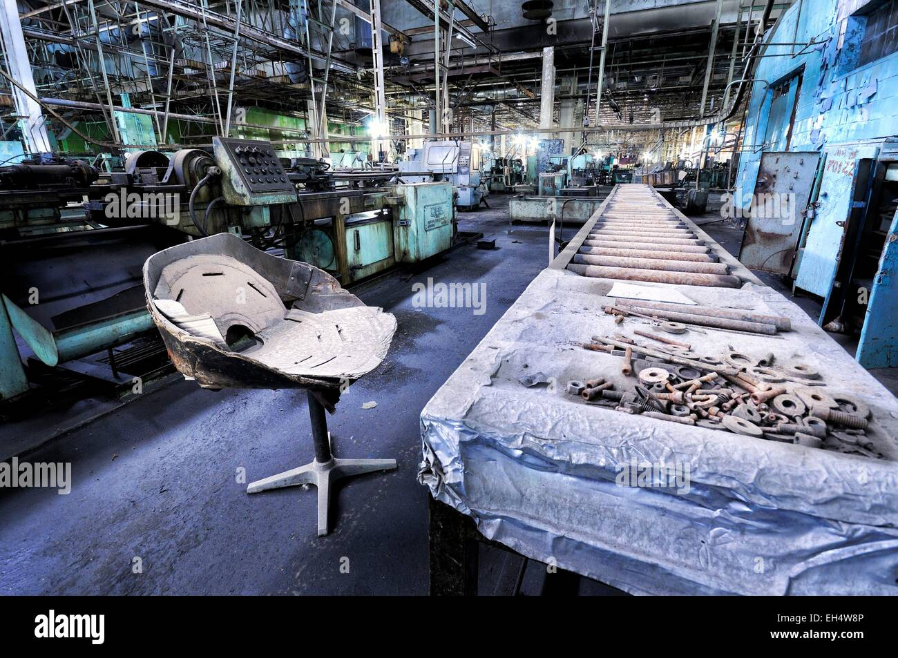 Azerbaijan, Baku, abandoned air conditioner factory which used to employ 6000 workers in the 1970s until the production - Stock Image