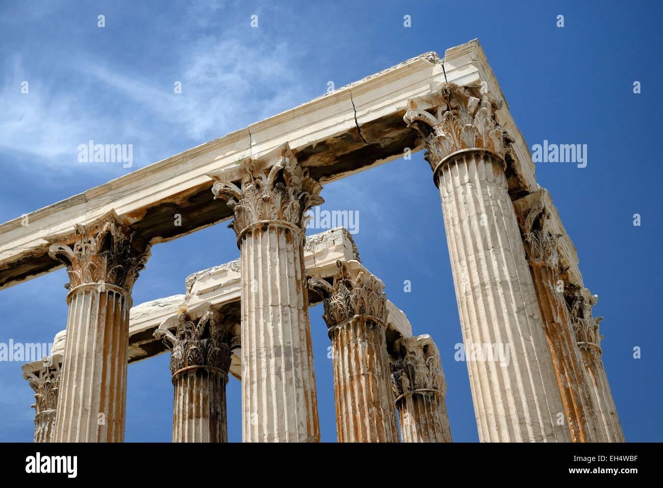 Greece, Attica, Athens, Corinthian columns of the temple of Olympian Zeus - Stock Image