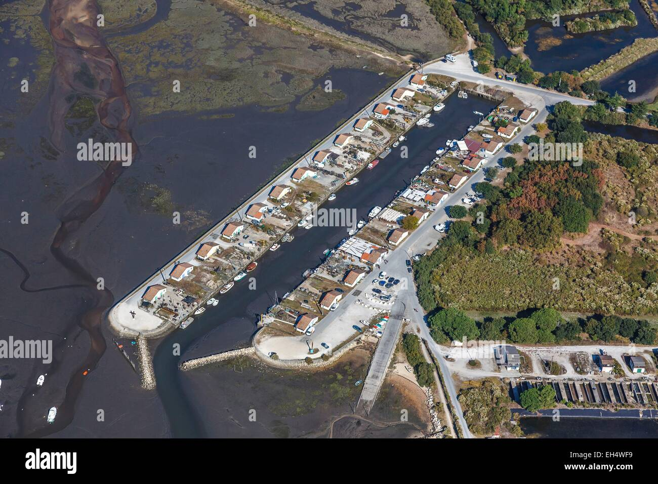 France, Gironde, Ares, oyster farming port on the Bassin d'Arcachon (aerial view) - Stock Image
