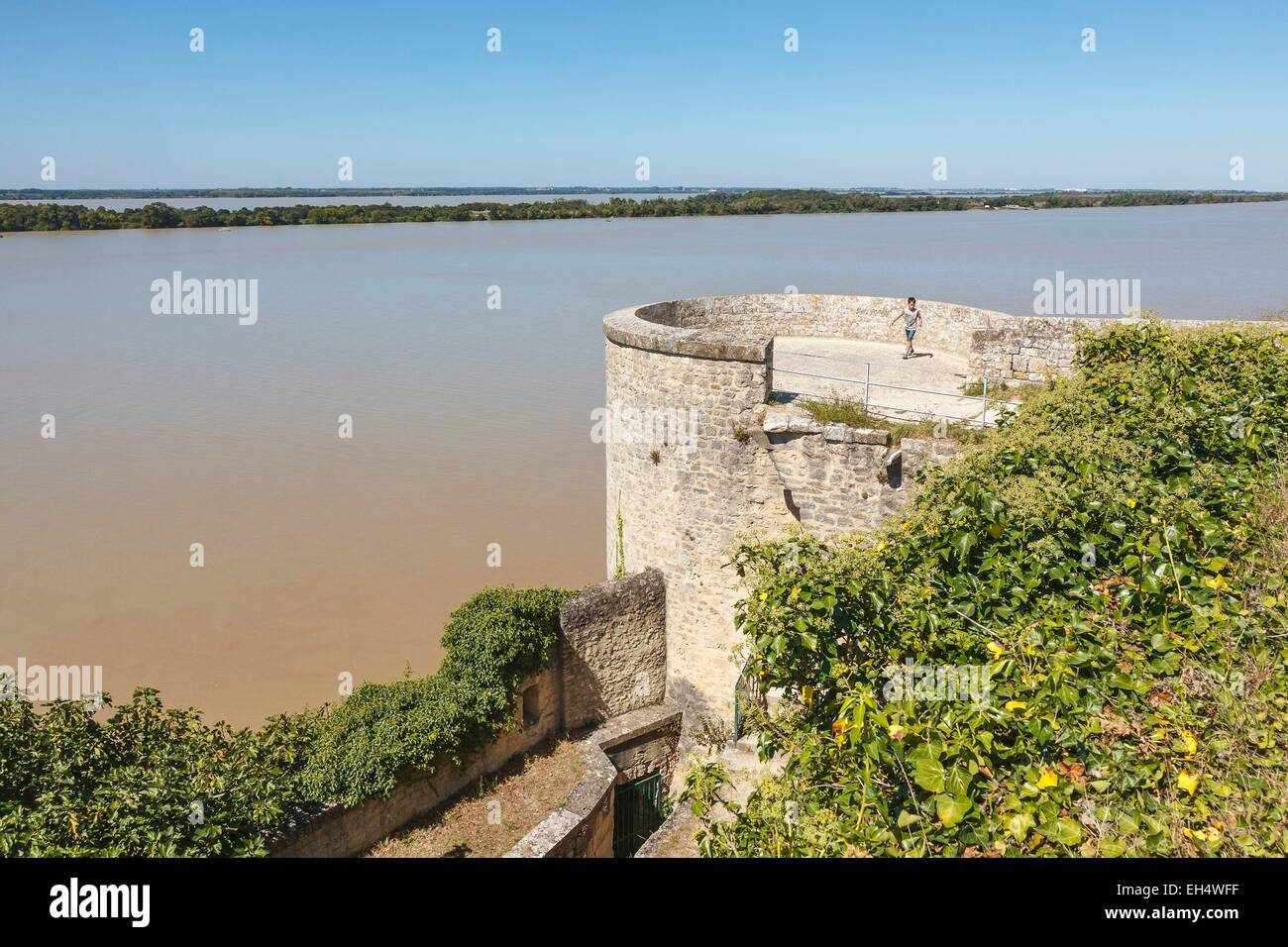 France, Gironde, Blaye, the Citadelle, l'Eguillette tower, the Gironde river and l'Ile Nouvelle, Fortifications - Stock Image