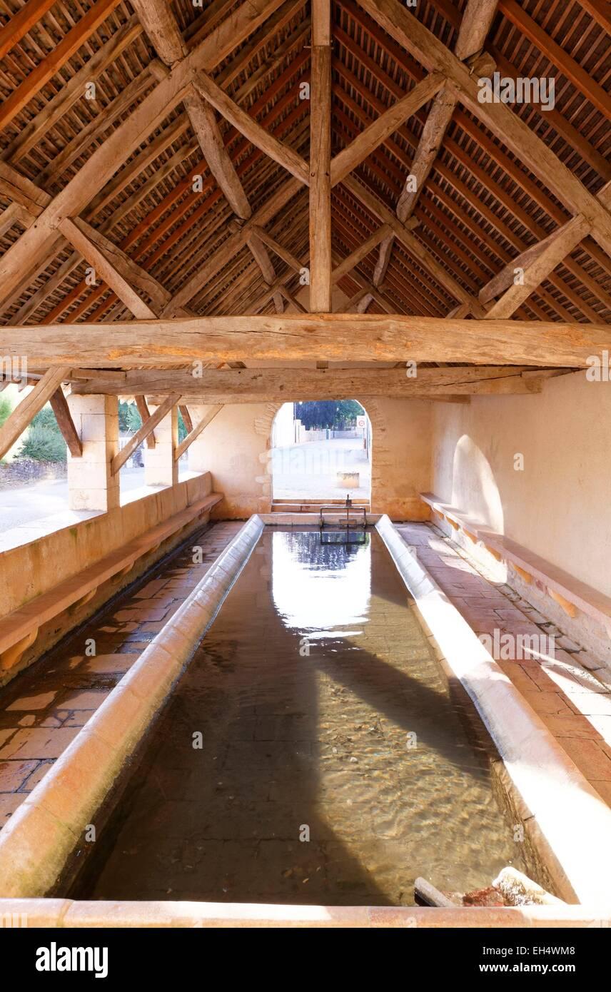 France, Saone et Loire, wash house, Givry - Stock Image
