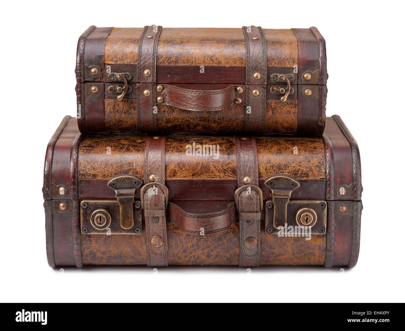 Two Old Suitcases Stacked on top of each other. - Stock Image