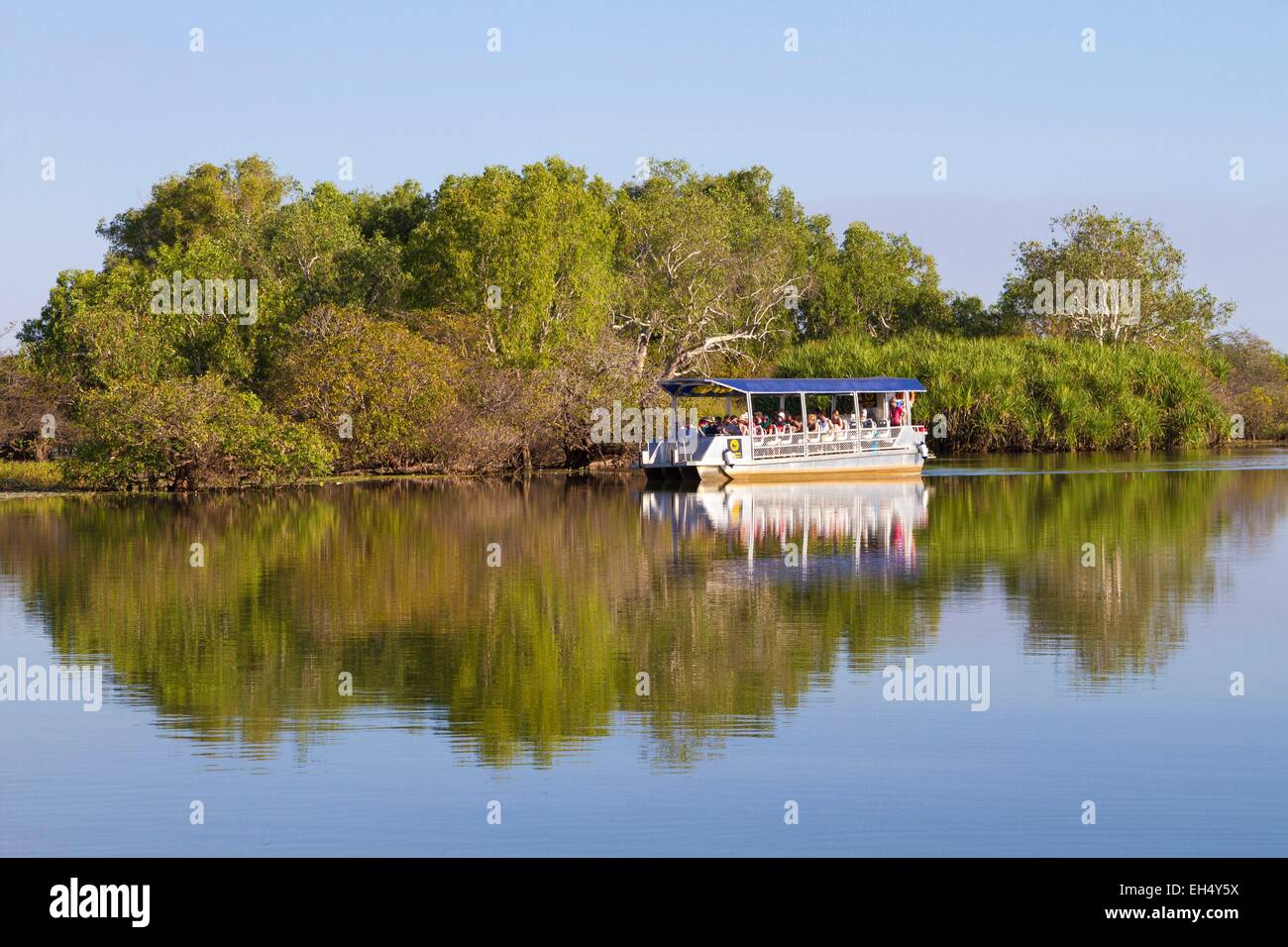 Australia, Northern Territory, Kakadu National Park, listed as World Heritage by UNESCO, cruise ship on the Yellow - Stock Image