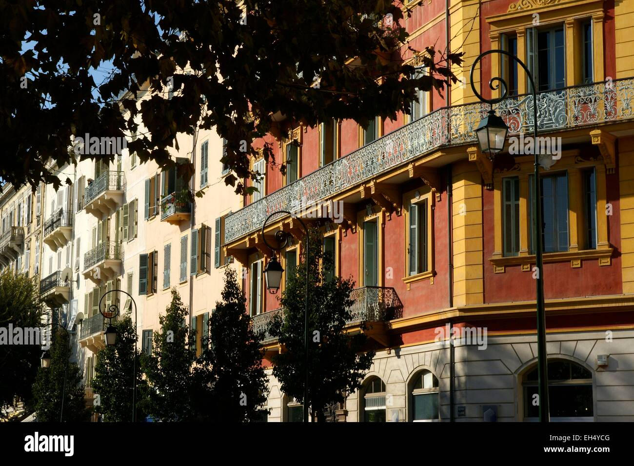 France, Corse du Sud, Ajaccio, the main avenues of the capital of South Corsica, are lined with facades rich and - Stock Image
