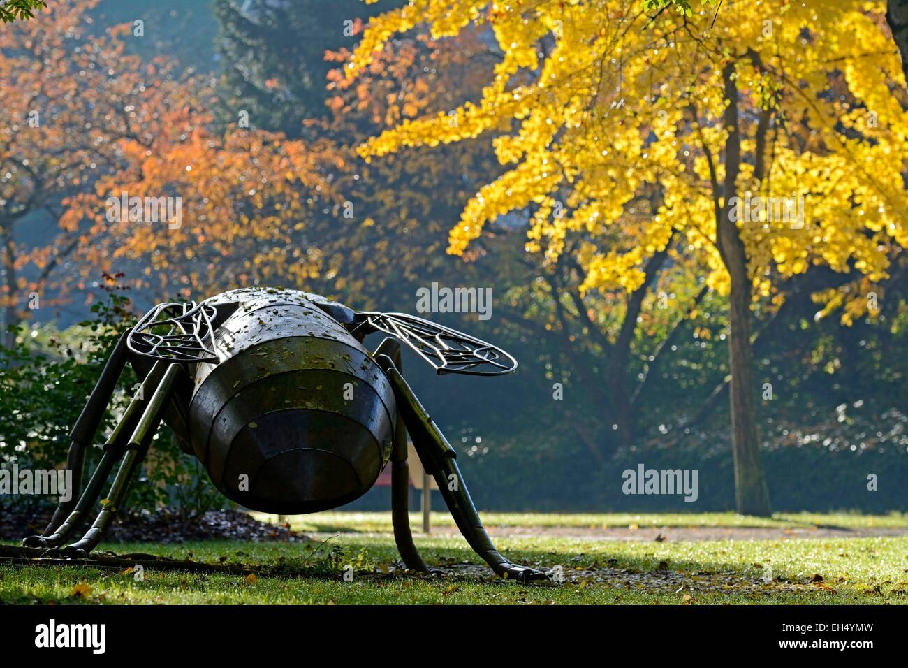 France, Doubs, Montbeliard, bee, metal work in the urban park near the Rose IN fall near the city center - Stock Image