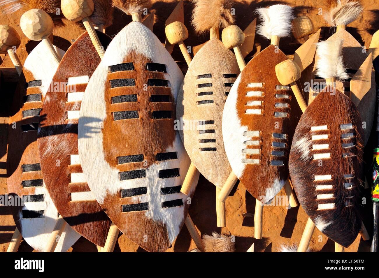 South Africa, Kwazulu Natal, Eshowe, Zululand, Shakaland, shields - Stock Image