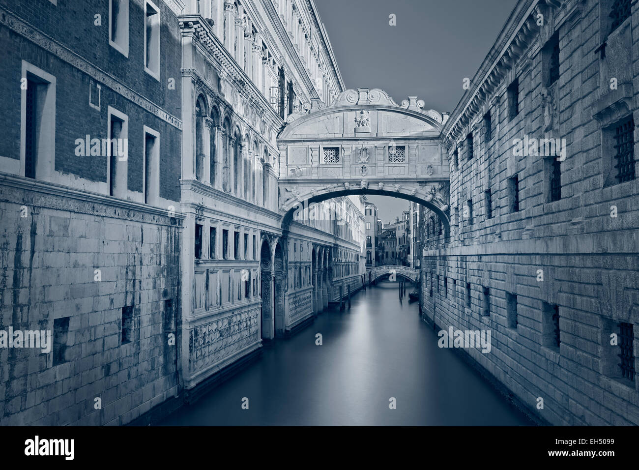 Bridge of Sighs. Toned image of the famous Bridge of Sighs in Venice, Italy. - Stock Image