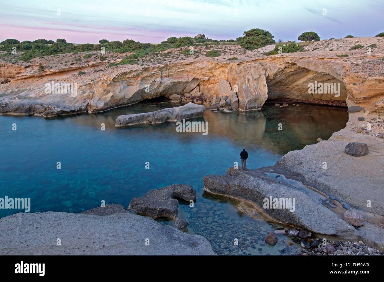 Greece, Cyclades, Island of Milos, Konstantinos - Stock Image
