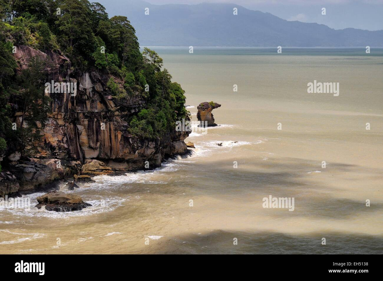 Malaysia, Borneo, Sarawak, Bako National Park, view on the South China sea from a lookout on the Telok Pandan Kecil - Stock Image
