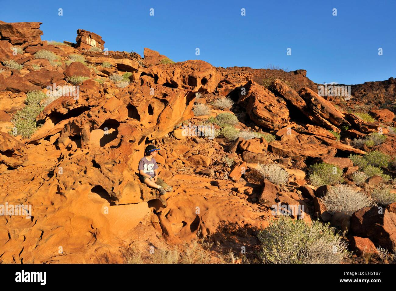 Namibia, Damaraland, Twyfeltontein, listed as World Heritage by UNESCO, rock carvings - Stock Image