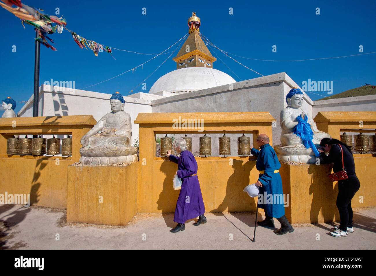 Mongolia, Selenge, Amarbayasgalant Khiid, stupa in monastery - Stock Image