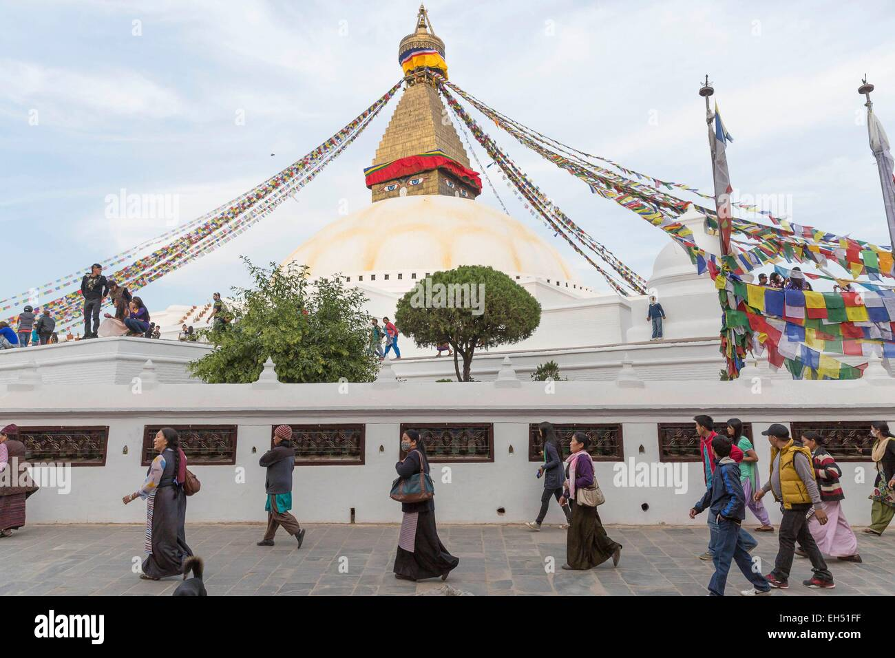 Nepal, Kathmandu, Bodhnath, listed as World Heritage by UNESCO, the largest stupa in Asia - Stock Image