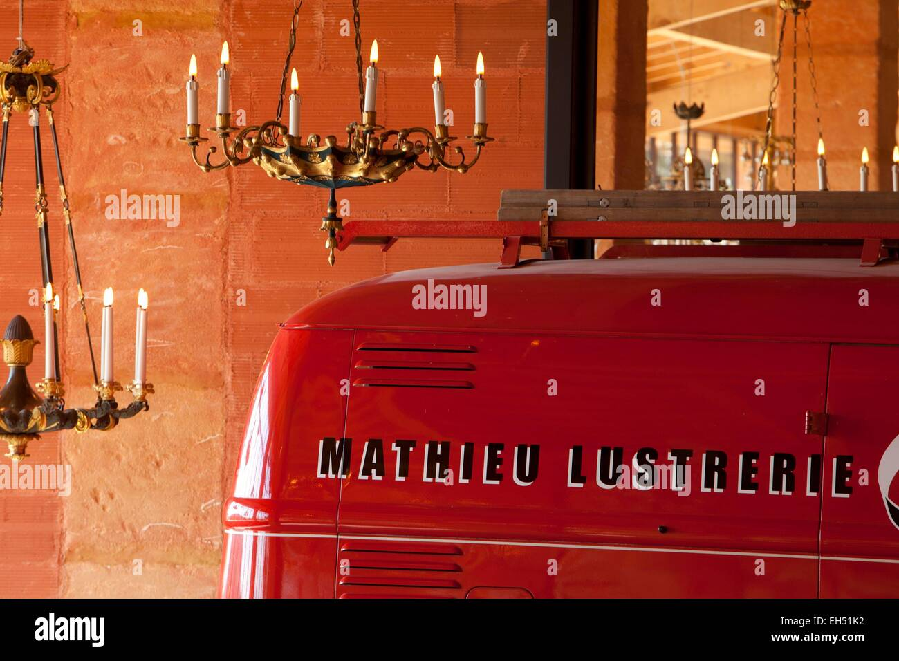 France, Vaucluse, Gargas, Mathieu chandelier manufacture , compulsory mention : Mathieu chandelier manufacture - Stock Image