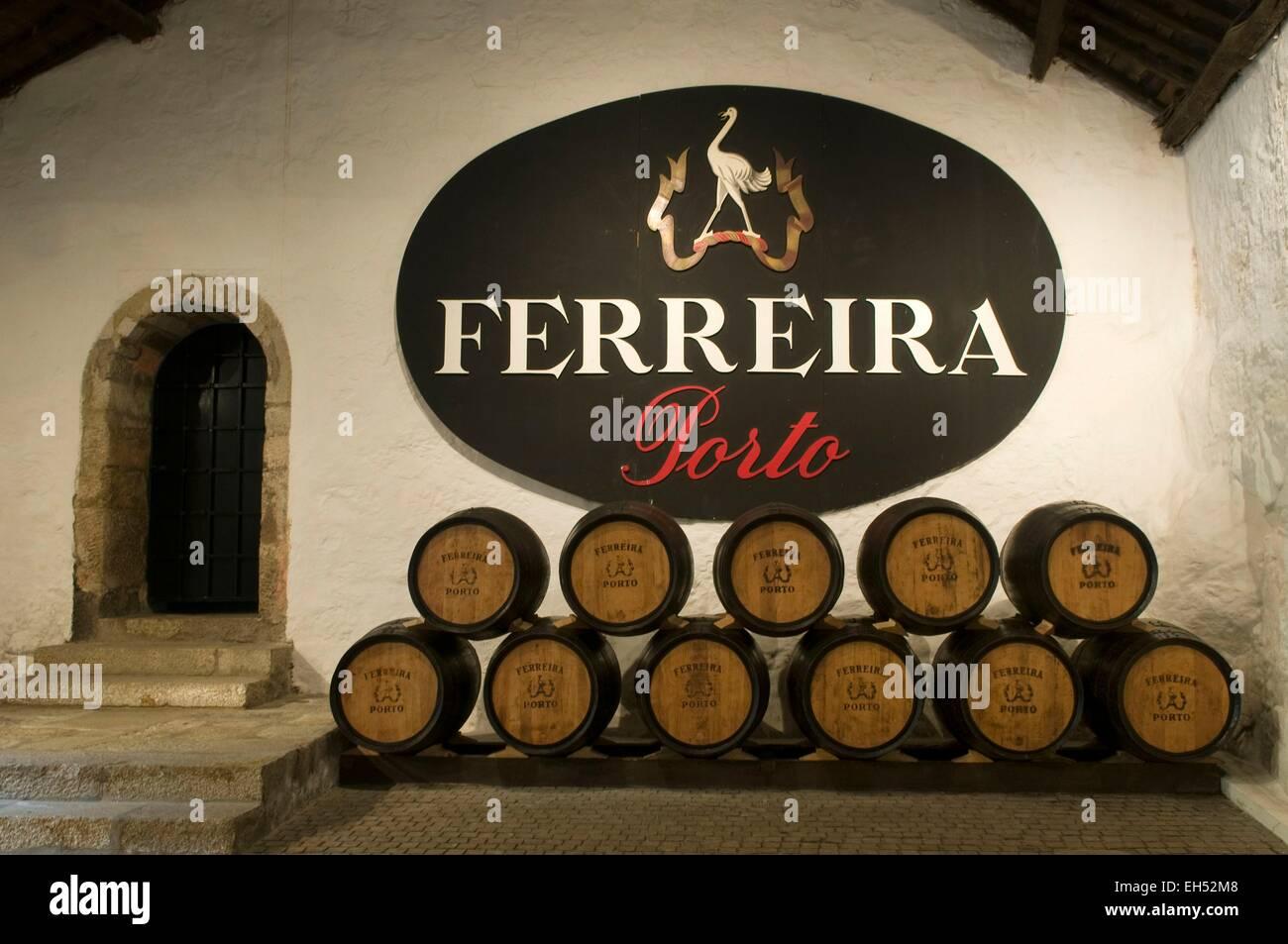 Portugal, North Region, Porto, Vila Nova de Gaia district, wine cellar of Porto Ferreira - Stock Image