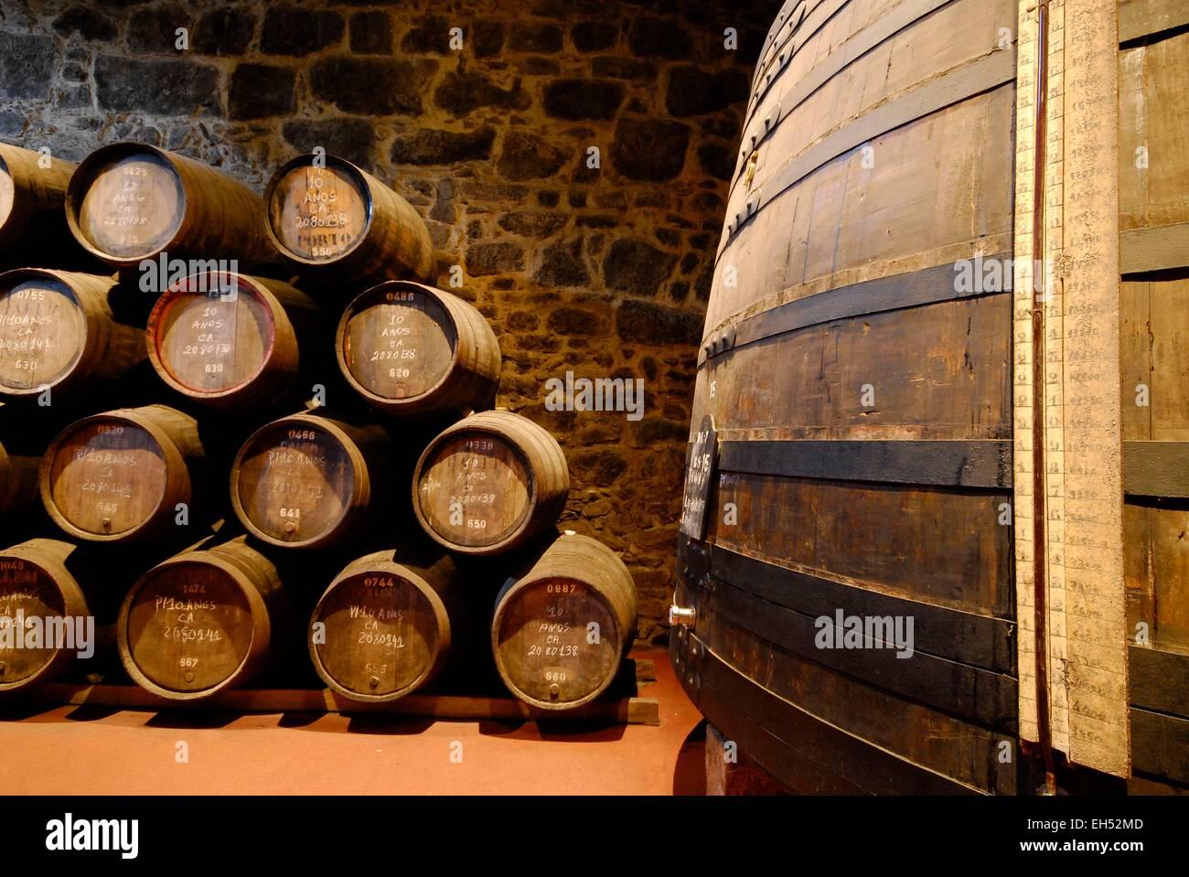 Portugal, North Region, Porto, Vila Nova de Gaia district, barrels of Porto wine in the cellars of the company Calem - Stock Image