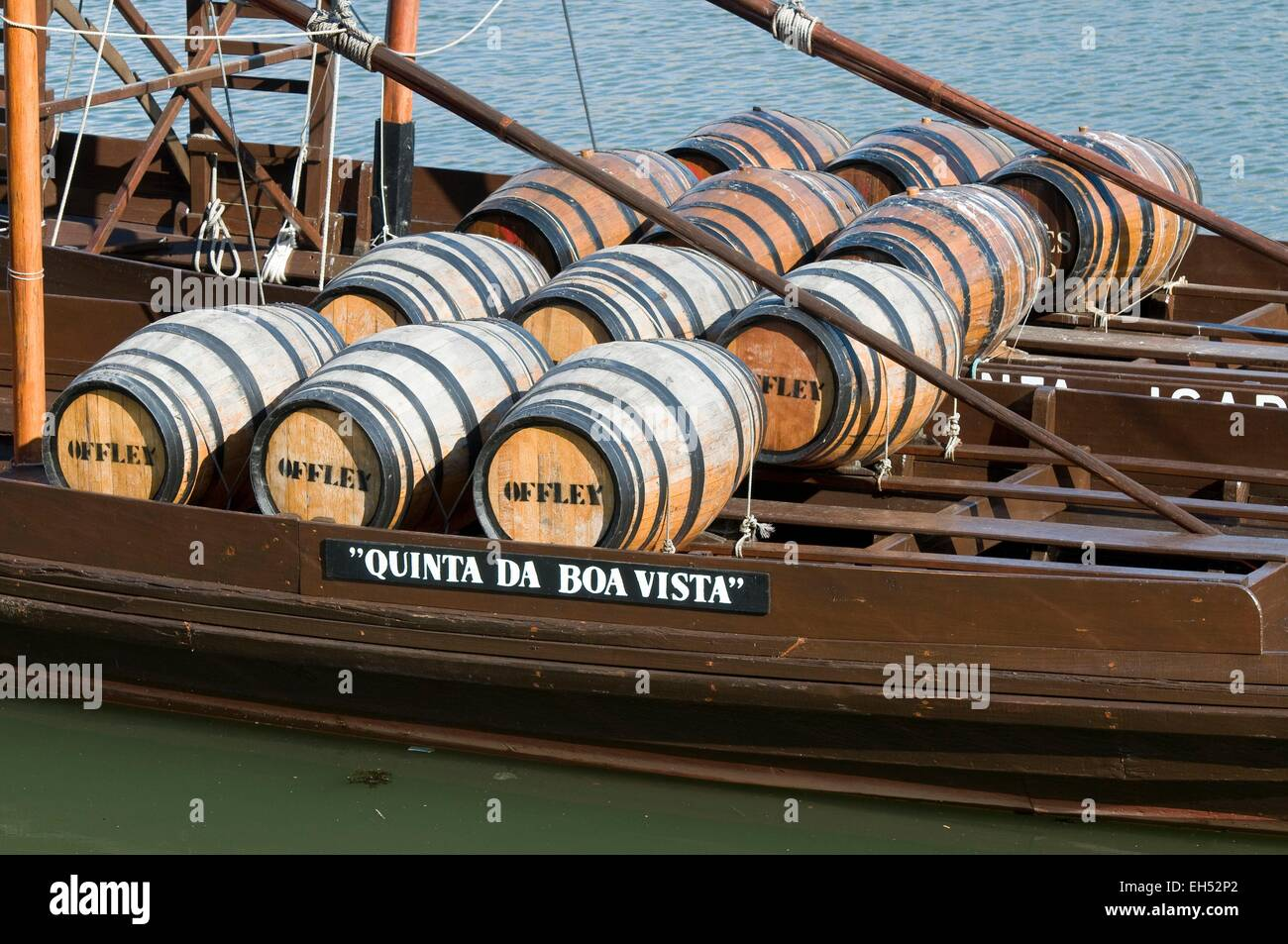 Portugal, North Region, Porto, historical center listed as World Heritage by UNESCO, barrels Puerto Barco Rabelo - Stock Image