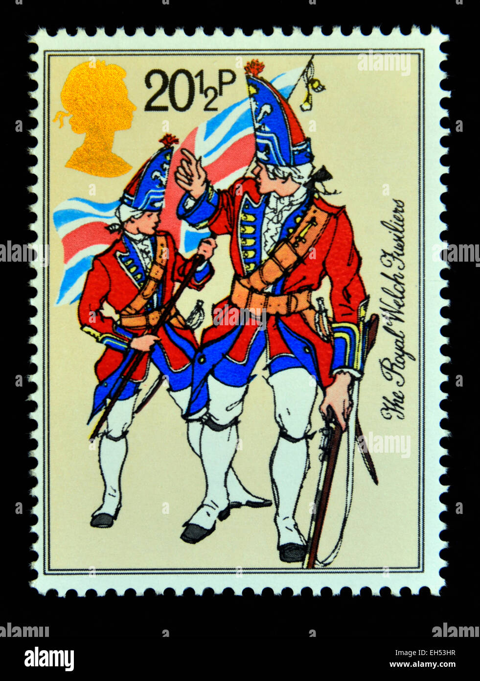 Postage stamp. Great Britain. Queen Elizabeth II. 1983. British Army Uniforms. The Royal Welch Fusiliers. - Stock Image