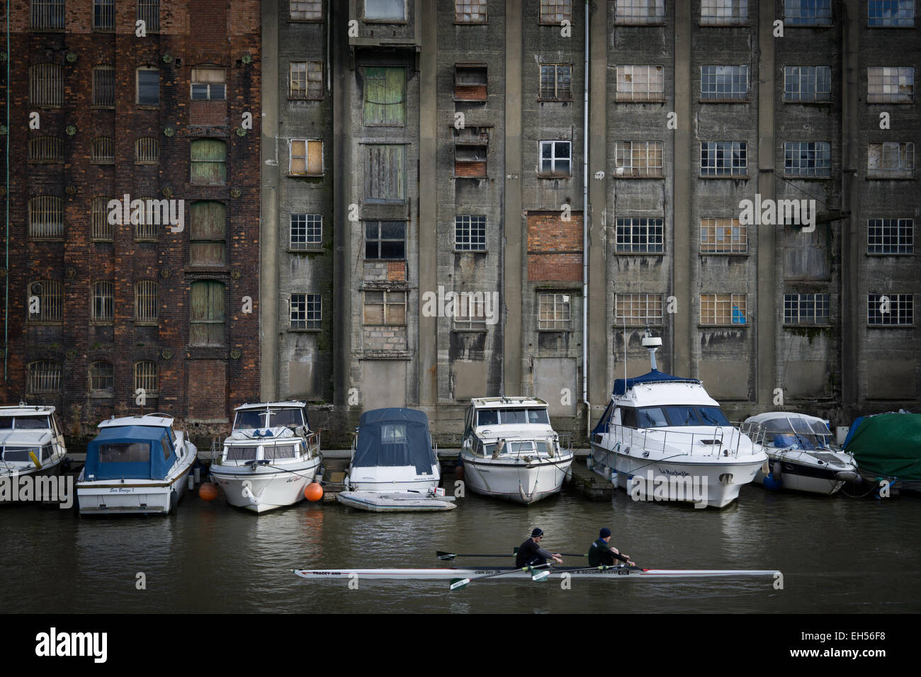 Rowers row past warehouses and cruise boats along the river in Bristol's floating harbour. - Stock Image