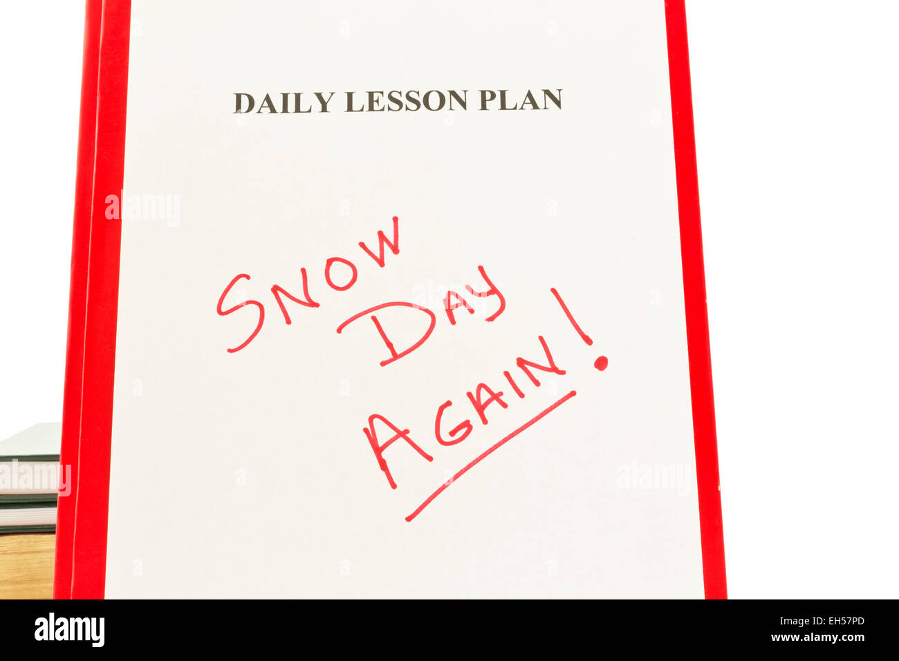 daily lesson plan sheet with handwritten snow day again in red stock