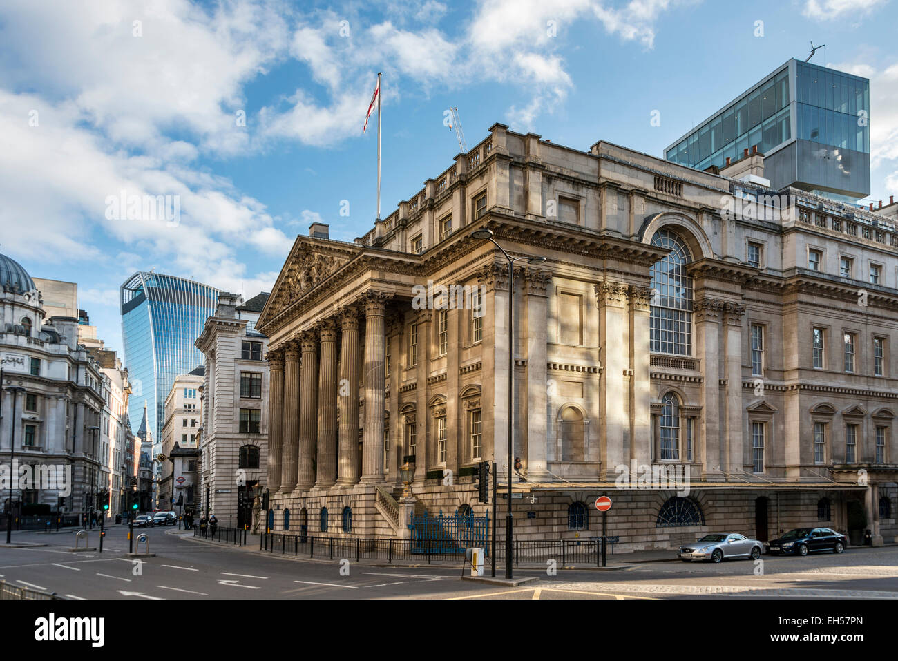The Mansion House in the City of London and is the official residence of the Lord Mayor of London - Stock Image