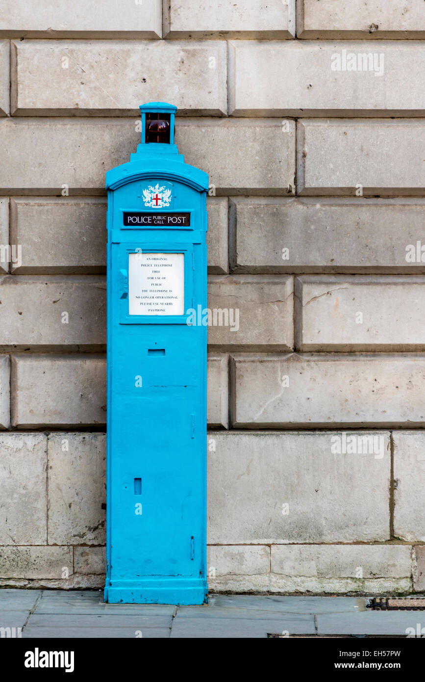 An old fashioned police telephone box in the City of London - Stock Image