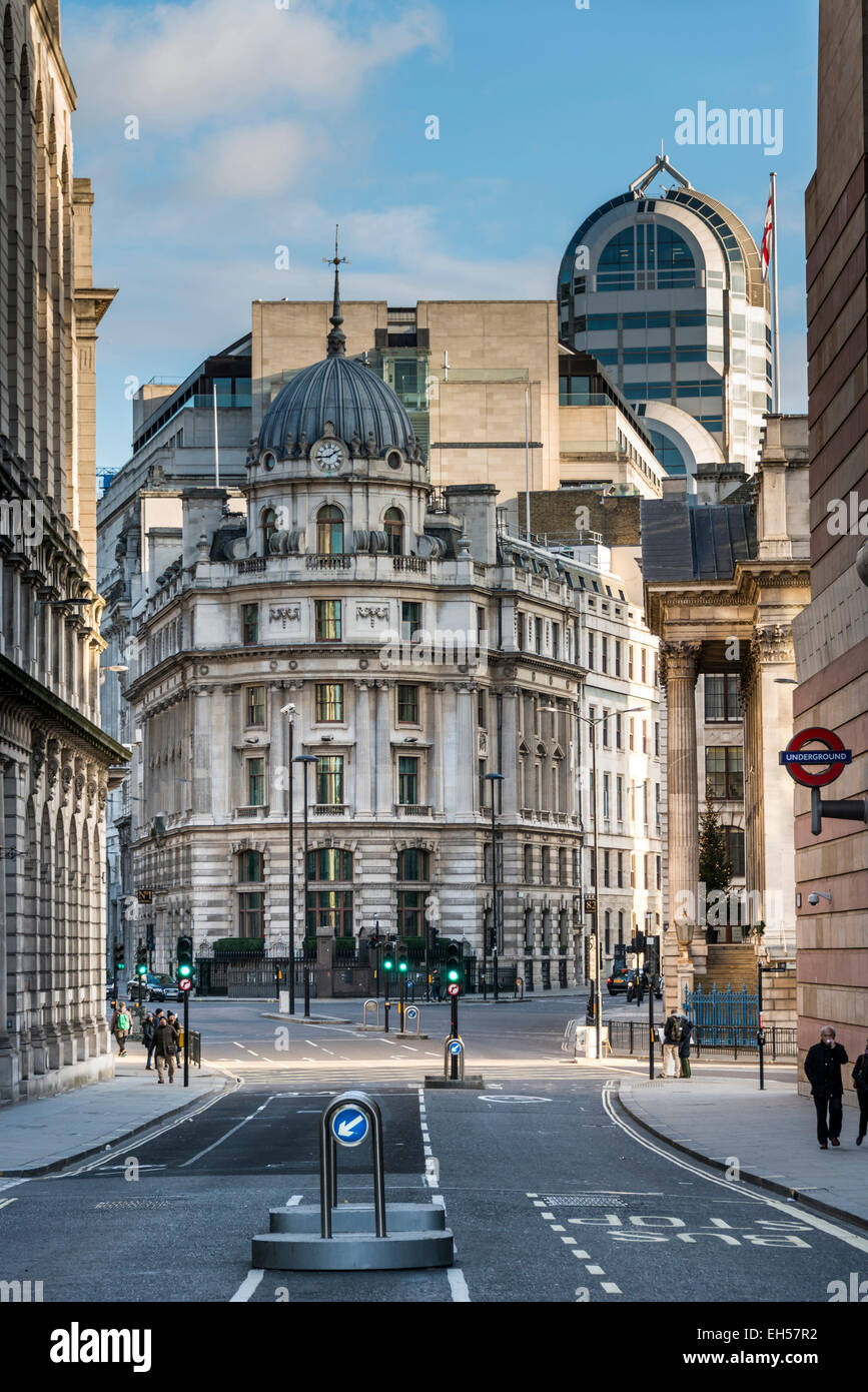 Views down Poultry toward Bank Junction in the City of London and No 1 Cornhill - Stock Image