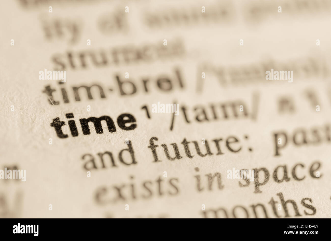 Definition of word time in dictionary - Stock Image