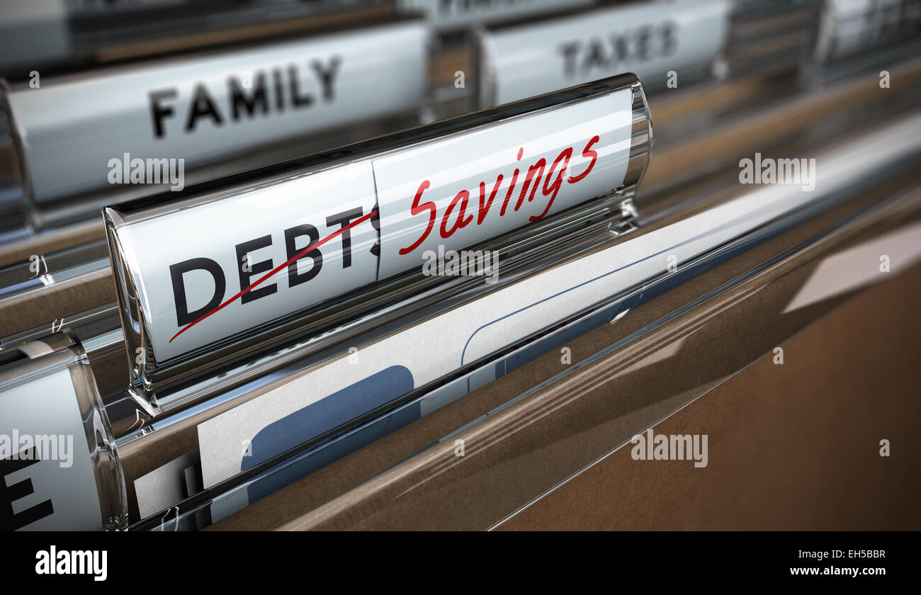 File tab with focus on savings. Conceptual image for illustration of debt vs savings - Stock Image