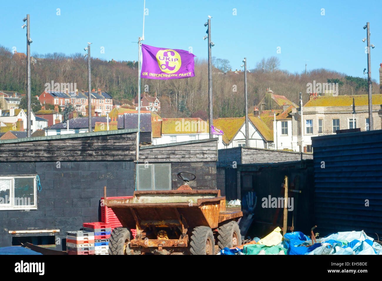 UKIP flag flying over Hastings Old Town Stade East Sussex England - Stock Image