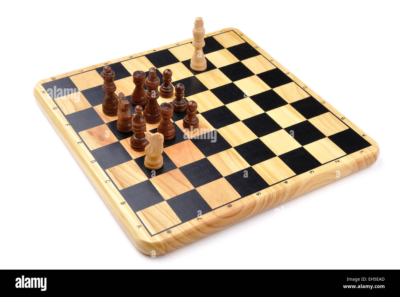 checkmate made by one horse with total advantage of opponent - Stock Image