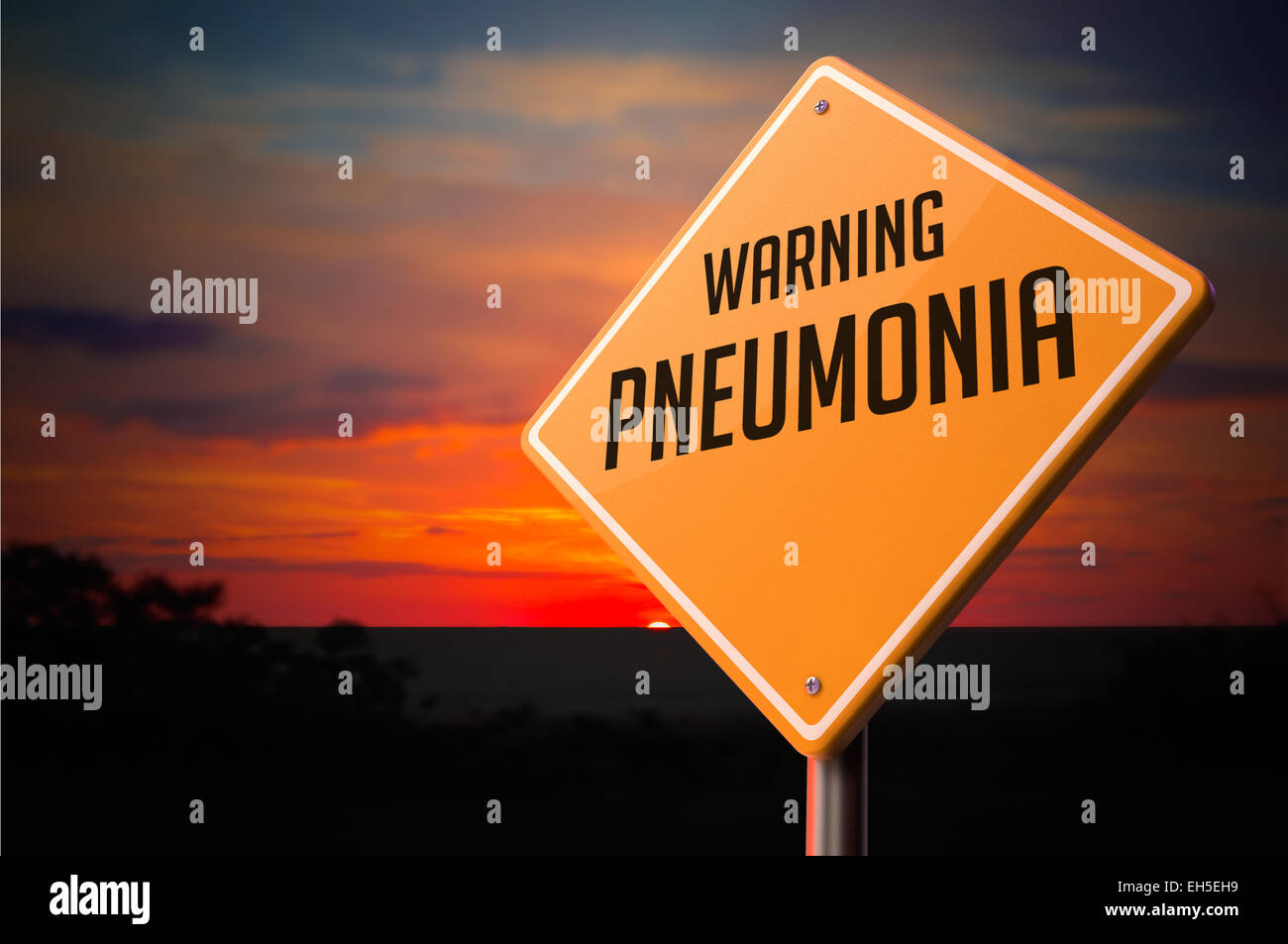 Pneumonia on Warning Road Sign on Sunset Sky Background. - Stock Image