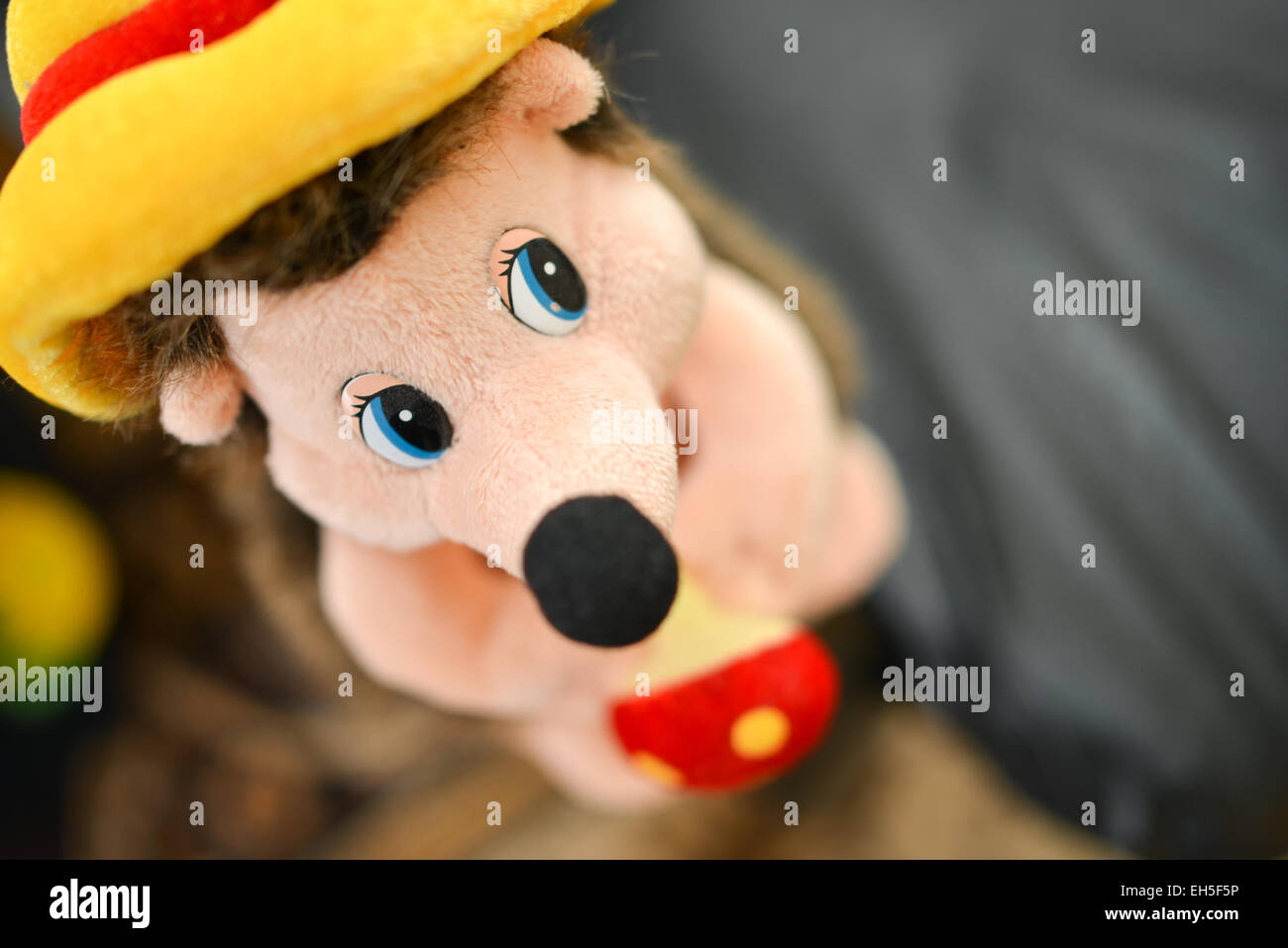 Mouse plush with low depth of field - Stock Image