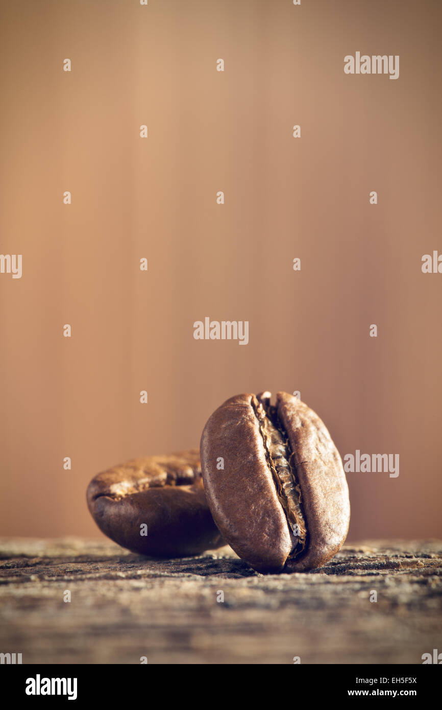 the closeup of coffee beans - Stock Image