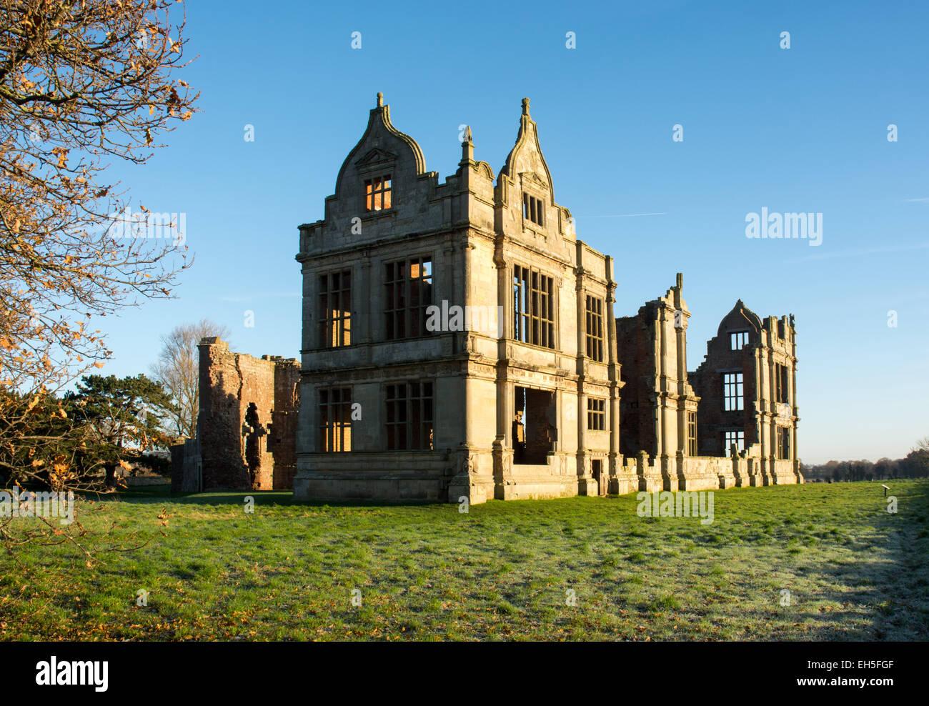 Moreton Corbet Castle, Shropshire, in winter sunshine - Stock Image