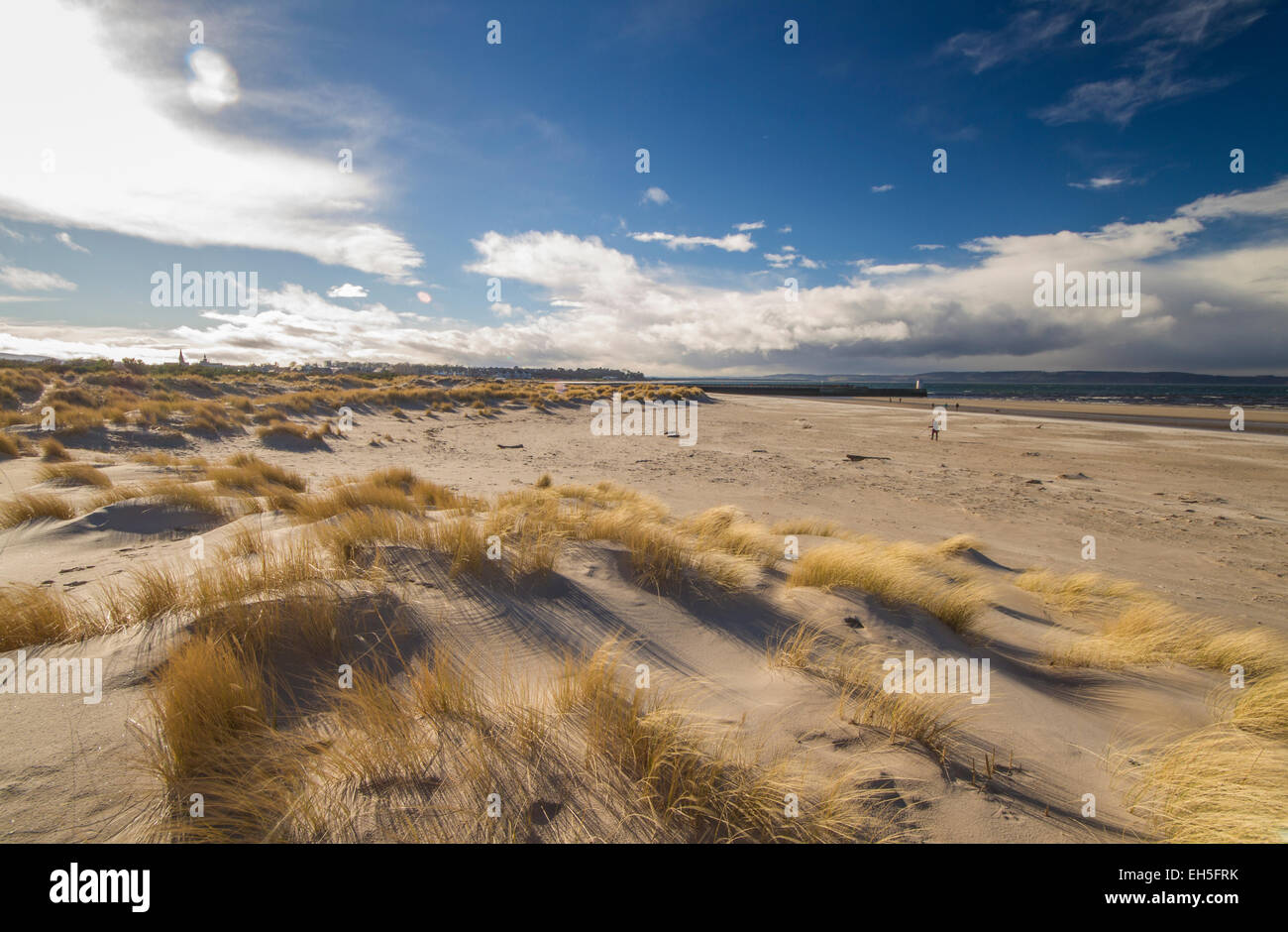 Wide angle view of Nairn beach - Stock Image