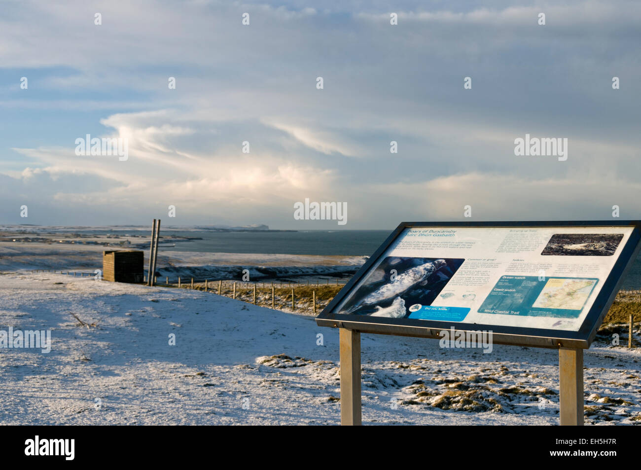 Information sign at Duncansby Head, near John o'Groats, Caithness, Scotland, UK Looking towards Dunnet Head - Stock Image