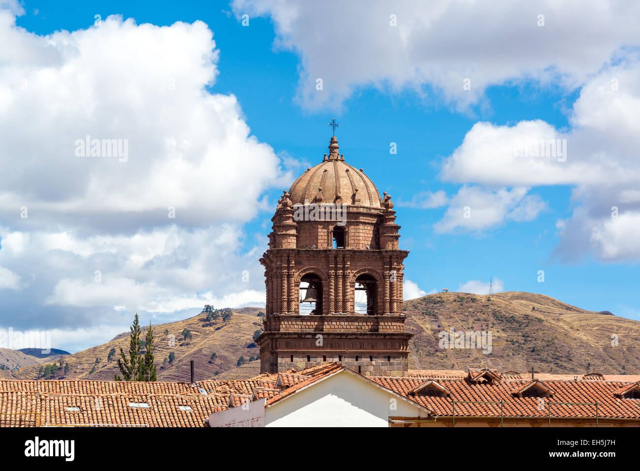 View of the tower of Santo Domingo church in Cuzco, Peru - Stock Image