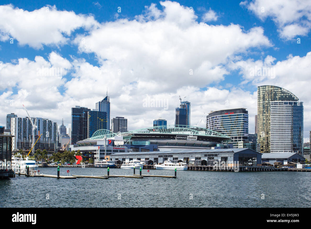 The famous Melbourne skyline from a pier at Docklands on a hot summer's day Stock Photo