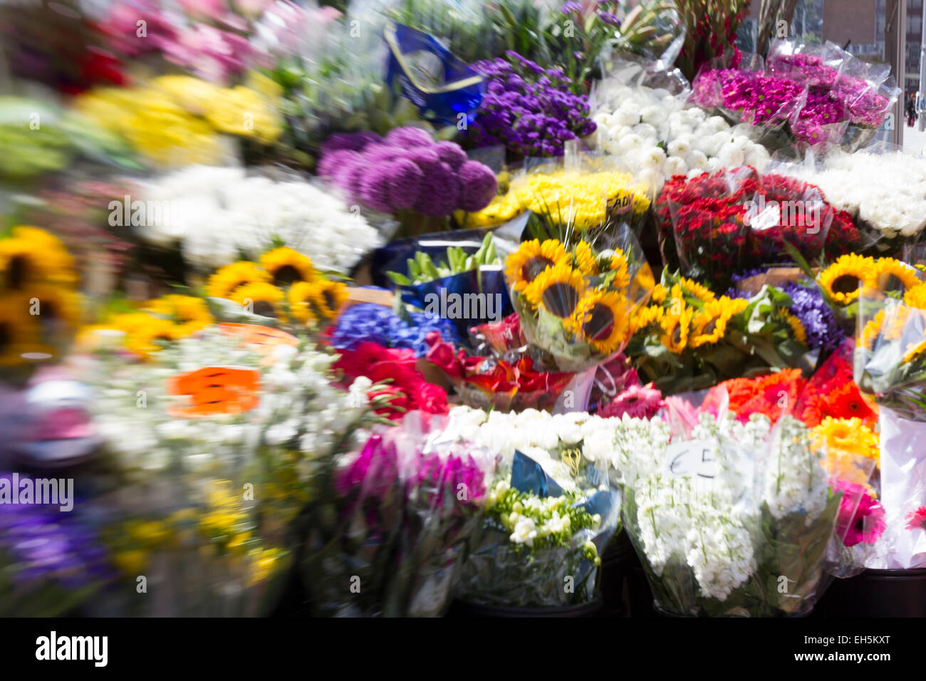 Lensbaby image of a flower stand in Dublin - Stock Image