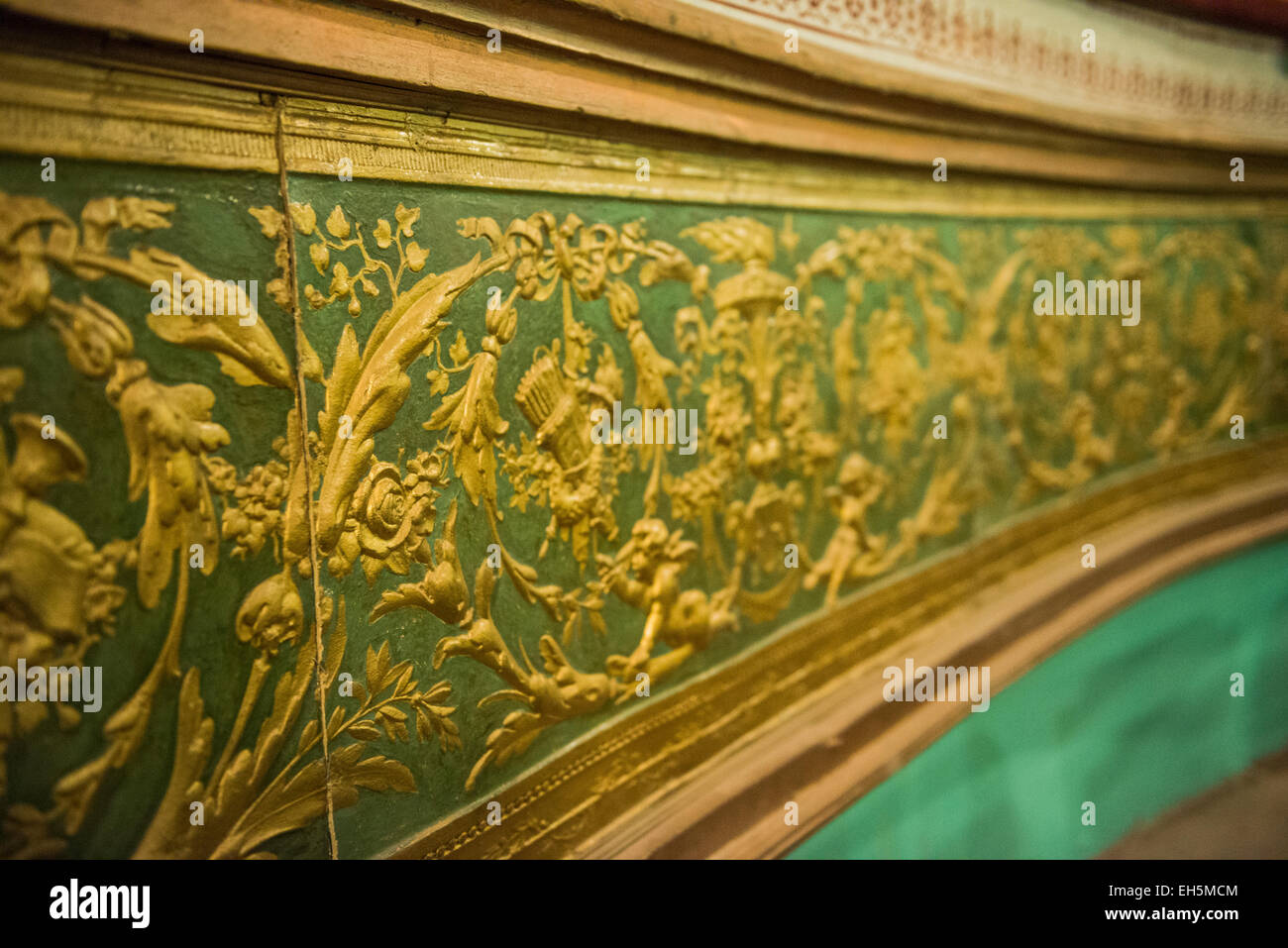 Embossed papier-mache inside the Victorian Gaiety Theatre in Shimla, Himachal Pradesh, India - Stock Image