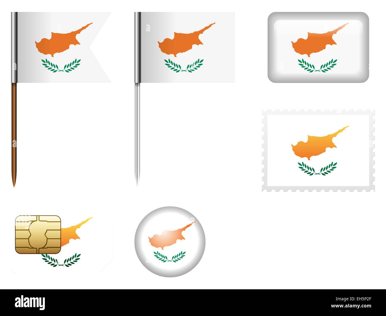 Cyprus flag set on a white background. - Stock Image