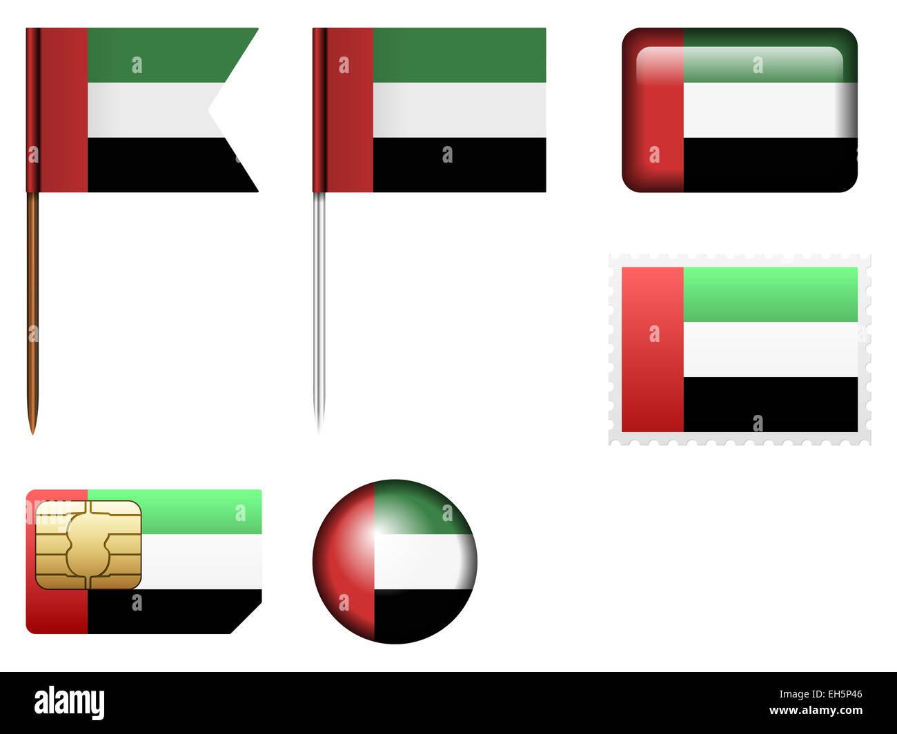 United Arab Emirates flag set on a white background. Stock Photo