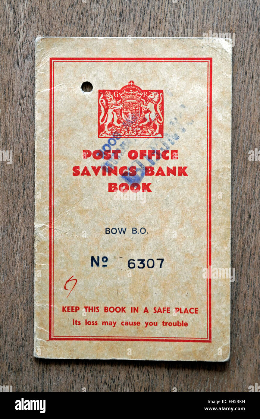 Old Post Office Savings Bank Book 1946 to 1957 - Stock Image