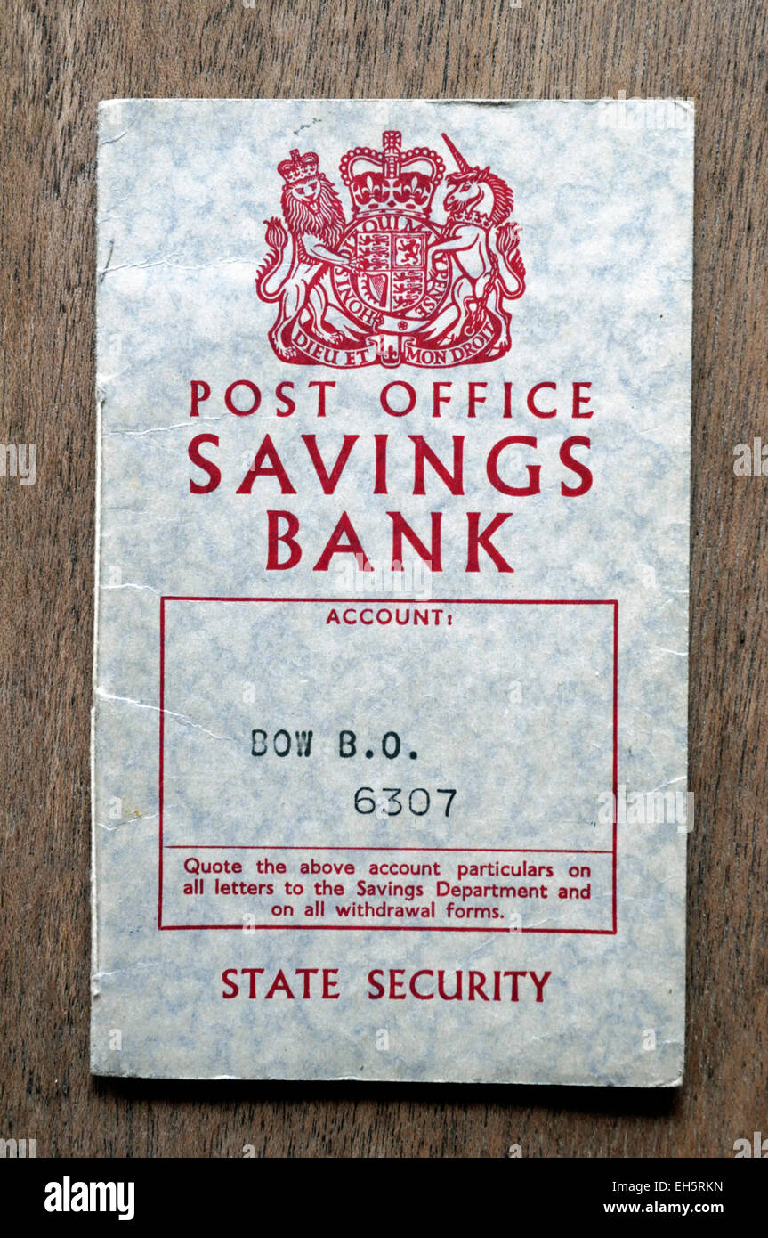 Old Post Office Savings Book 1961 to 1962 England Britain UK - Stock Image