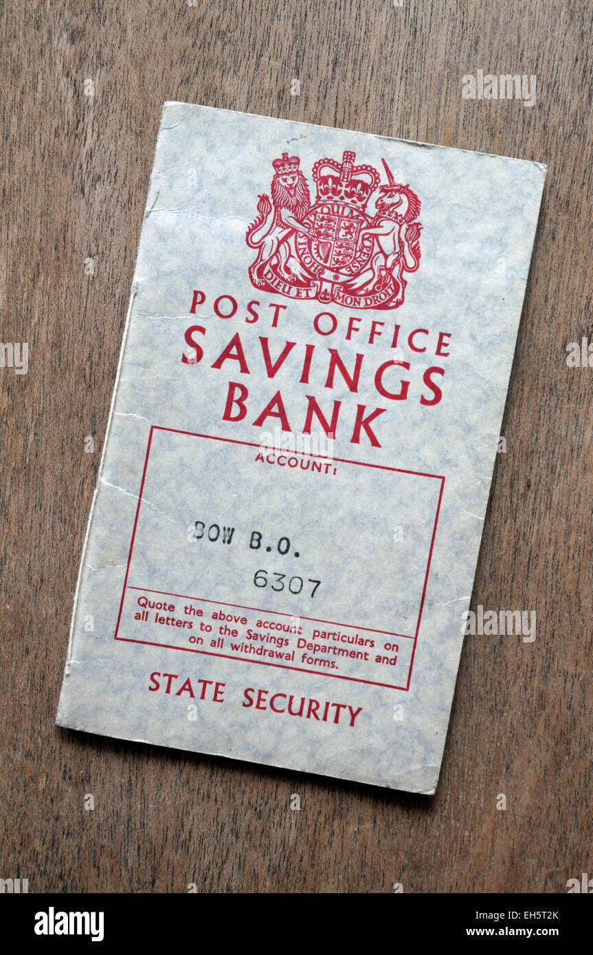 Old Post Office Savings Book 1961 to1962 England Britain UK - Stock Image