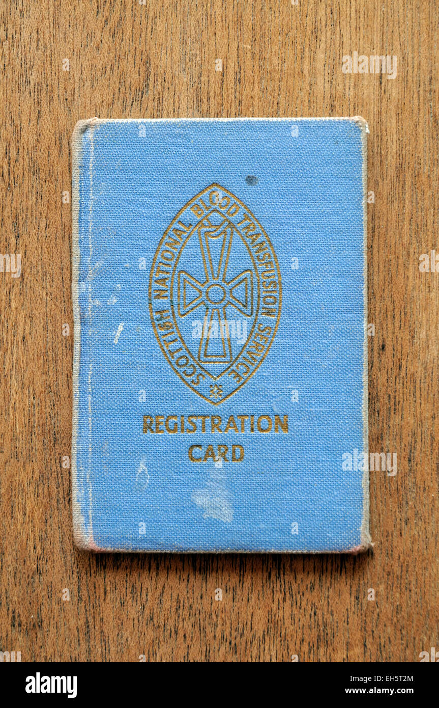 Scottish National Blood Transfusion Registration Card - Stock Image