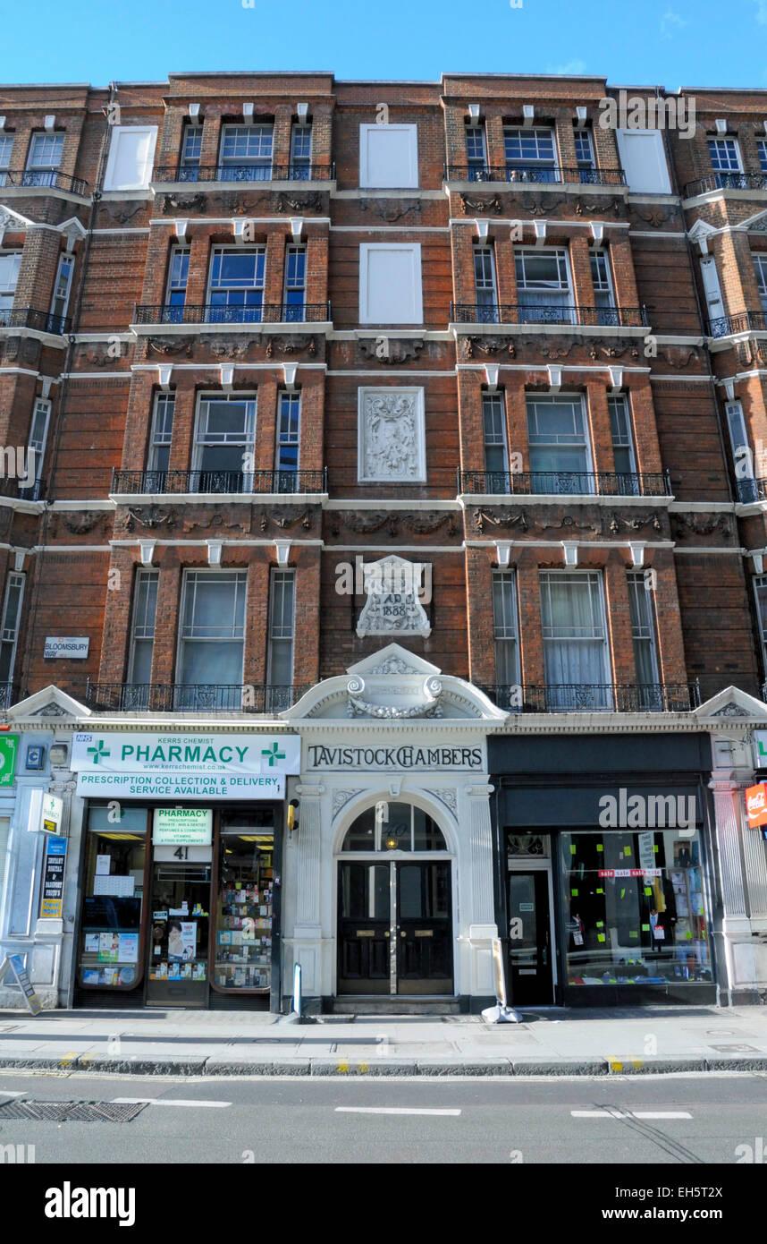 Tavistock Chambers, late Victoria flats with retail premises below, Bloomsbury Way, London England Britain UK - Stock Image