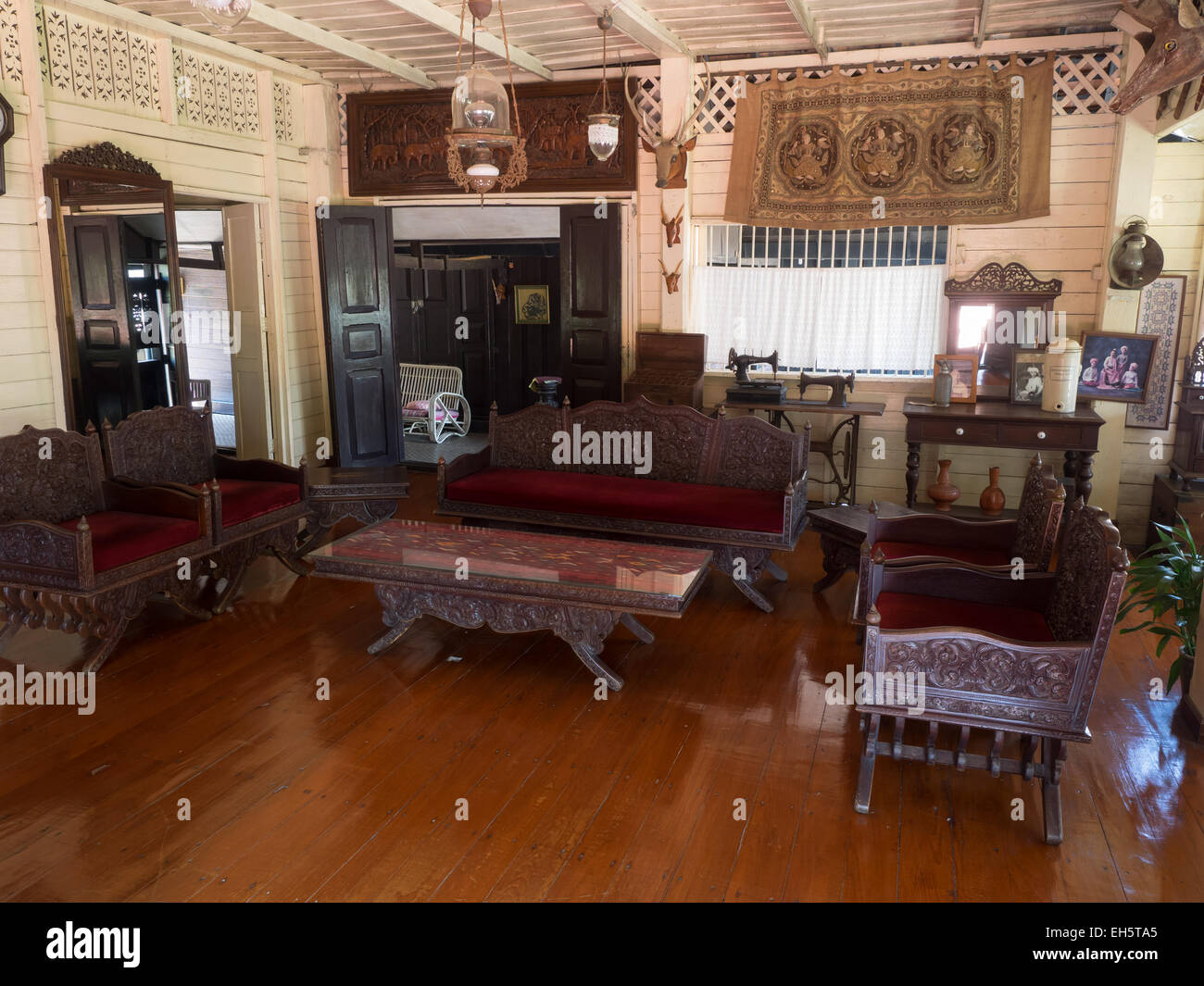 Inside Old Traditional Thai Style House In Lampang Thailand