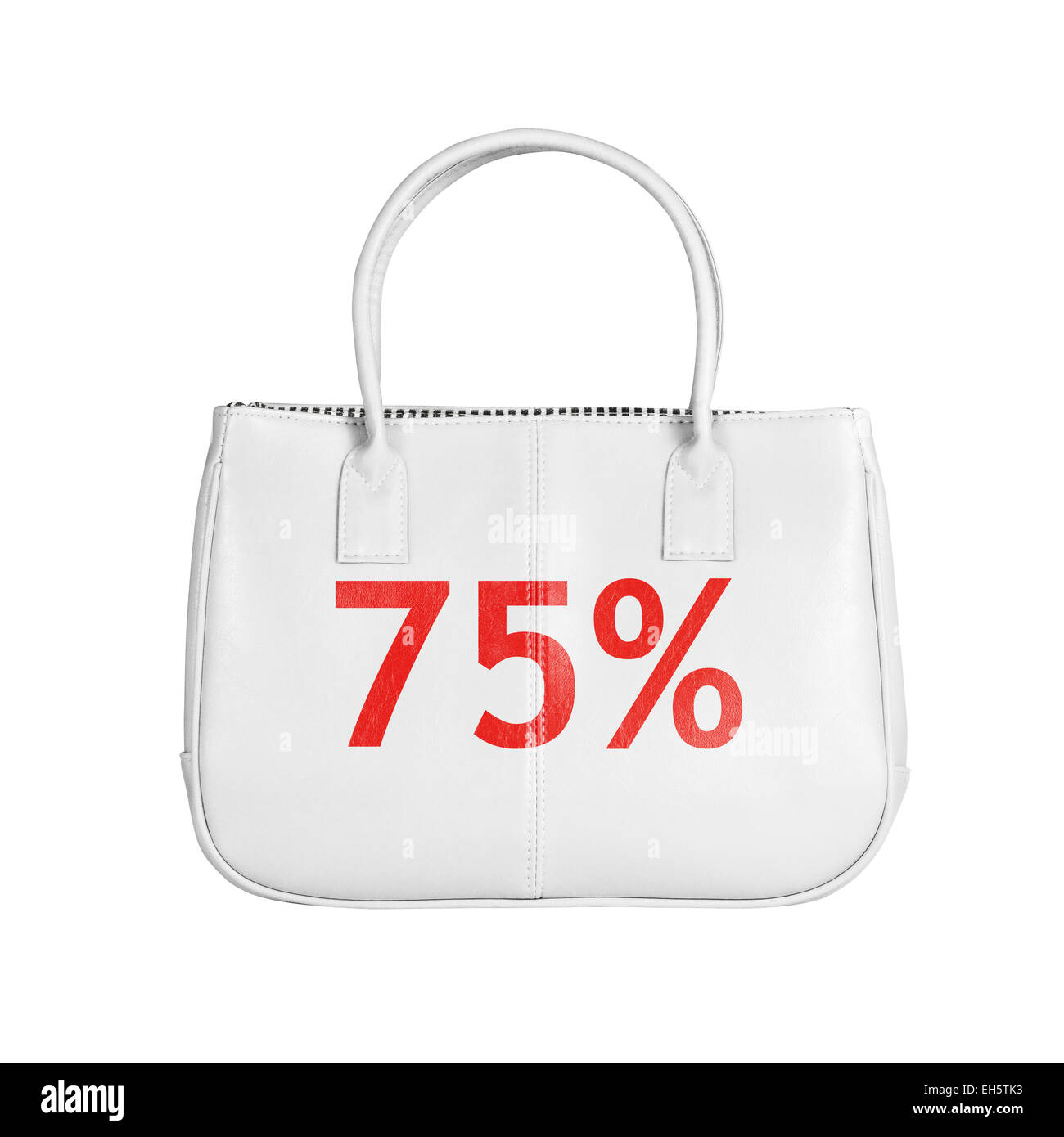 Seventy five percent sale bag. Design element isolated on white background with clipping path - Stock Image